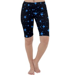 Bright Blue  Stars In Space Cropped Leggings  by Costasonlineshop