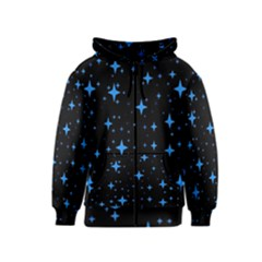 Bright Blue  Stars In Space Kids  Zipper Hoodie