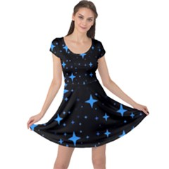 Bright Blue  Stars In Space Cap Sleeve Dresses