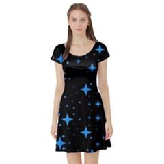 Bright Blue  Stars In Space Short Sleeve Skater Dress