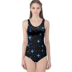 Bright Blue  Stars In Space One Piece Swimsuit