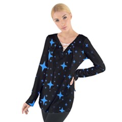 Bright Blue  Stars In Space Women s Tie Up Tee by Costasonlineshop