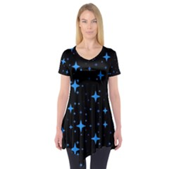 Bright Blue  Stars In Space Short Sleeve Tunic  by Costasonlineshop