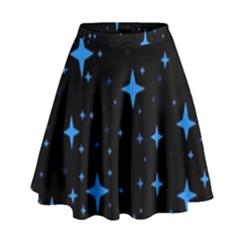 Bright Blue  Stars In Space High Waist Skirt