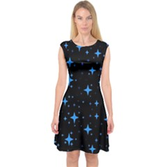 Bright Blue  Stars In Space Capsleeve Midi Dress by Costasonlineshop