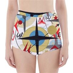 Compass 4 High-Waisted Bikini Bottoms by Valentinaart