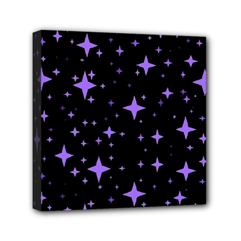 Bright Purple   Stars In Space Mini Canvas 6  X 6  by Costasonlineshop
