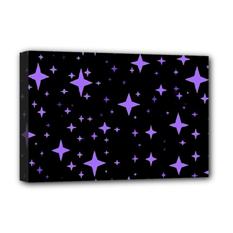 Bright Purple   Stars In Space Deluxe Canvas 18  X 12   by Costasonlineshop