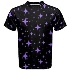Bright Purple   Stars In Space Men s Cotton Tee by Costasonlineshop