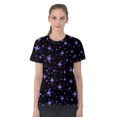 Bright Purple   Stars In Space Women s Cotton Tee by Costasonlineshop