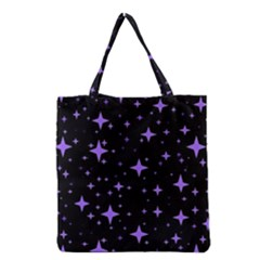 Bright Purple   Stars In Space Grocery Tote Bag by Costasonlineshop