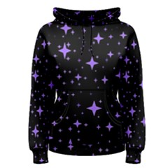 Bright Purple   Stars In Space Women s Pullover Hoodie