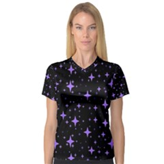 Bright Purple   Stars In Space Women s V Neck Sport Mesh Tee by Costasonlineshop