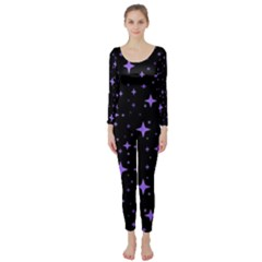 Bright Purple   Stars In Space Long Sleeve Catsuit