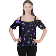 Bright Purple   Stars In Space Women s Cutout Shoulder Tee by Costasonlineshop