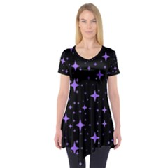 Bright Purple   Stars In Space Short Sleeve Tunic  by Costasonlineshop