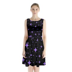 Bright Purple   Stars In Space Sleeveless Chiffon Waist Tie Dress