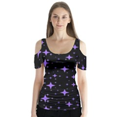 Bright Purple   Stars In Space Butterfly Sleeve Cutout Tee  by Costasonlineshop