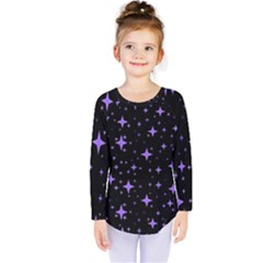 Bright Purple   Stars In Space Kids  Long Sleeve Tee