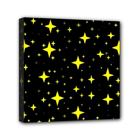 Bright Yellow   Stars In Space Mini Canvas 6  X 6  by Costasonlineshop