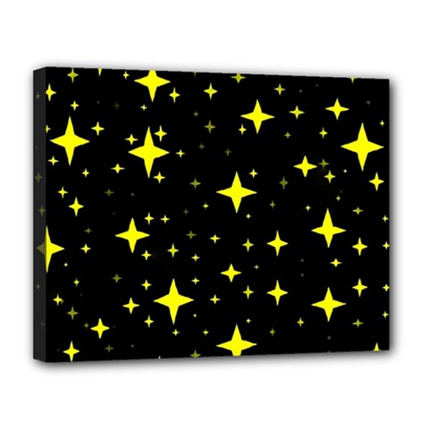 Bright Yellow   Stars In Space Canvas 14  X 11  by Costasonlineshop