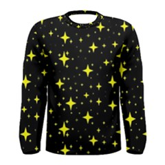 Bright Yellow   Stars In Space Men s Long Sleeve Tee by Costasonlineshop