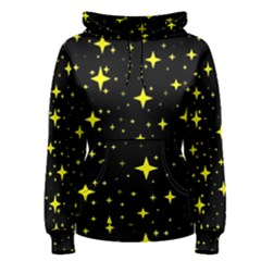 Bright Yellow   Stars In Space Women s Pullover Hoodie