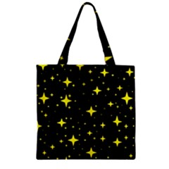 Bright Yellow   Stars In Space Zipper Grocery Tote Bag by Costasonlineshop