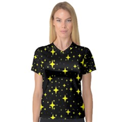 Bright Yellow   Stars In Space Women s V Neck Sport Mesh Tee by Costasonlineshop