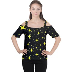 Bright Yellow   Stars In Space Women s Cutout Shoulder Tee by Costasonlineshop