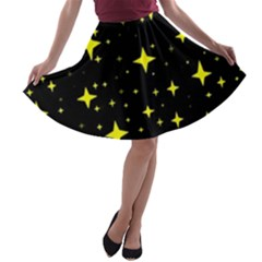 Bright Yellow   Stars In Space A Line Skater Skirt by Costasonlineshop