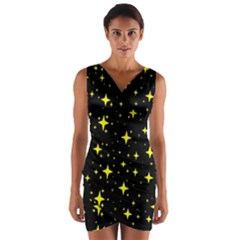 Bright Yellow   Stars In Space Wrap Front Bodycon Dress
