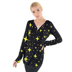 Bright Yellow   Stars In Space Women s Tie Up Tee by Costasonlineshop