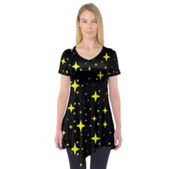 Bright Yellow   Stars In Space Short Sleeve Tunic  by Costasonlineshop