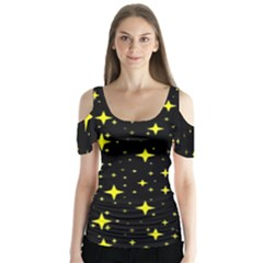 Bright Yellow   Stars In Space Butterfly Sleeve Cutout Tee  by Costasonlineshop