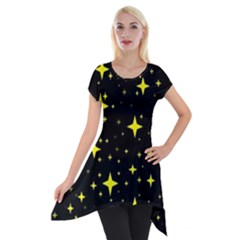 Bright Yellow   Stars In Space Short Sleeve Side Drop Tunic by Costasonlineshop