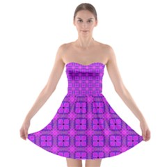 Abstract Dancing Diamonds Purple Violet Strapless Bra Top Dress by DianeClancy