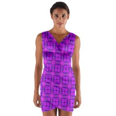 Abstract Dancing Diamonds Purple Violet Wrap Front Bodycon Dress by DianeClancy
