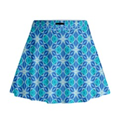 Aqua Hawaiian Stars Under A Night Sky Dance Mini Flare Skirt