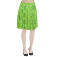 Vibrant Abstract Tropical Lime Foliage Lattice Pleated Skirt by DianeClancy