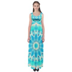 Blue Ice Goddess, Abstract Crystals Of Love Empire Waist Maxi Dress