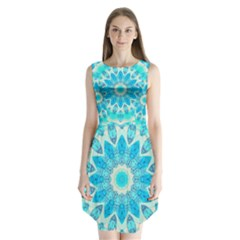 Blue Ice Goddess, Abstract Crystals Of Love Sleeveless Chiffon Dress