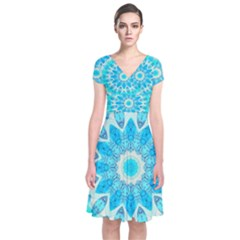 Blue Ice Goddess, Abstract Crystals Of Love Short Sleeve Front Wrap Dress