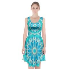Blue Ice Goddess, Abstract Crystals Of Love Racerback Midi Dress