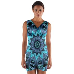 Star Connection, Abstract Cosmic Constellation Wrap Front Bodycon Dress
