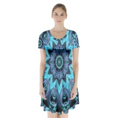 Star Connection, Abstract Cosmic Constellation Short Sleeve V Neck Flare Dress