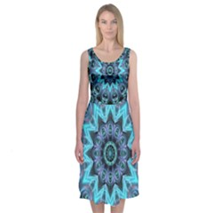 Star Connection, Abstract Cosmic Constellation Midi Sleeveless Dress