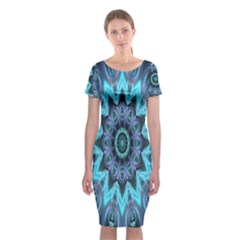 Star Connection, Abstract Cosmic Constellation Classic Short Sleeve Midi Dress
