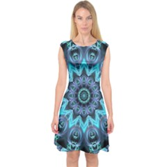 Star Connection, Abstract Cosmic Constellation Capsleeve Midi Dress