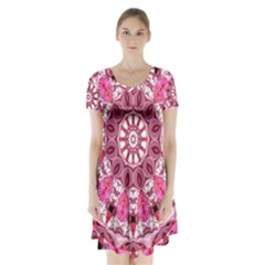 Twirling Pink, Abstract Candy Lace Jewels Mandala  Short Sleeve V Neck Flare Dress